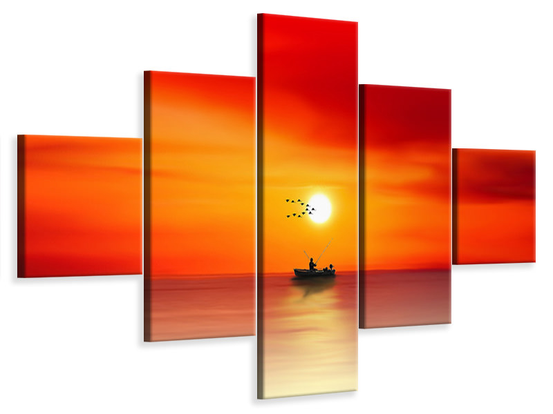 5 Piece Canvas Print A fisherman in the sunset