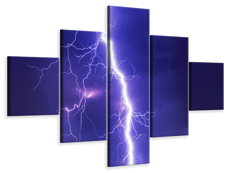 5 Piece Canvas Print Imposing lightning