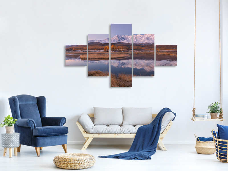 Tableau sur Toile en 5 parties Mirror For Mountains 2