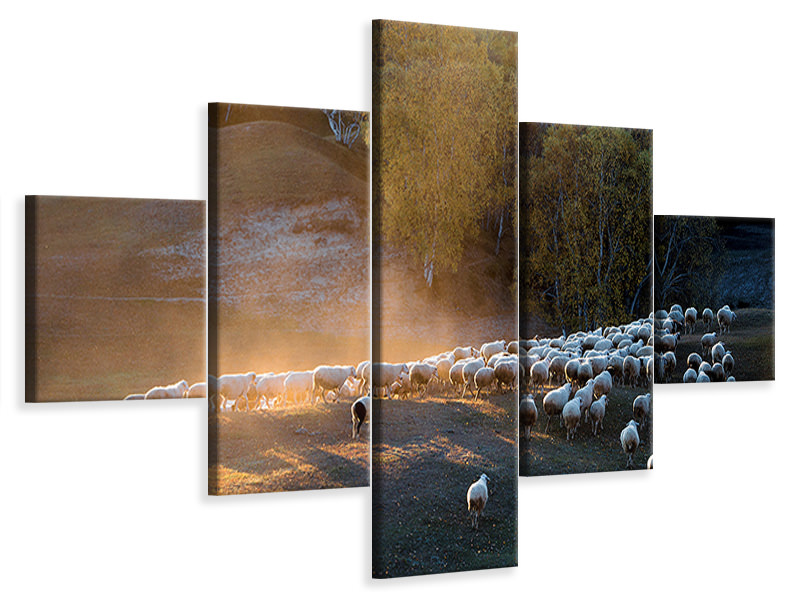 5 Piece Canvas Print Go Home