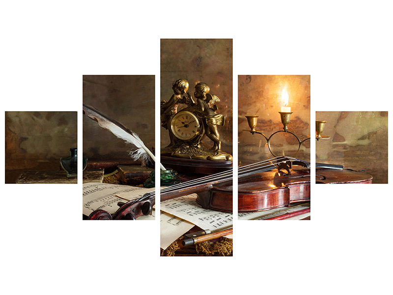 5 Piece Canvas Print Still Life With Violin And Clock