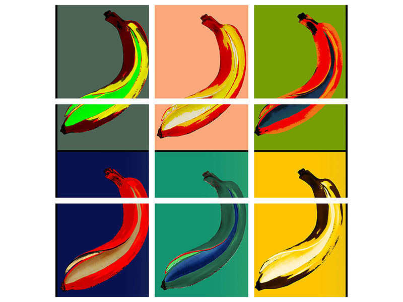 9 Piece Canvas Print Colorful bananas