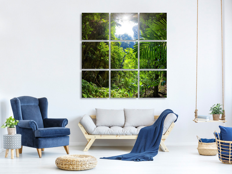 9 Piece Canvas Print Clearing In The Jungle